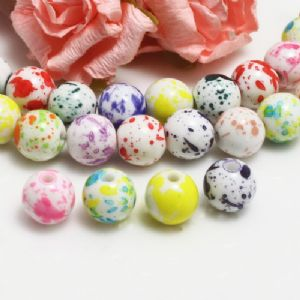 Beads, Imitation Ceramic beads, Acrylic, Assorted colours, Spherical, Diameter 10mm, 10g, 20 Beads, (SLZ0495)